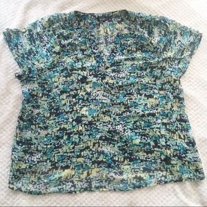 a.n.a  v-neck printed sheer blouse top blue